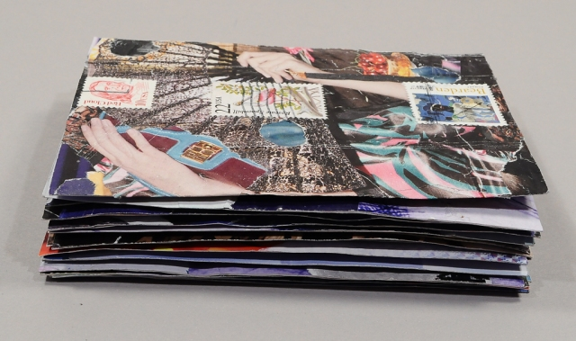 Stack of 16 collaged post cards